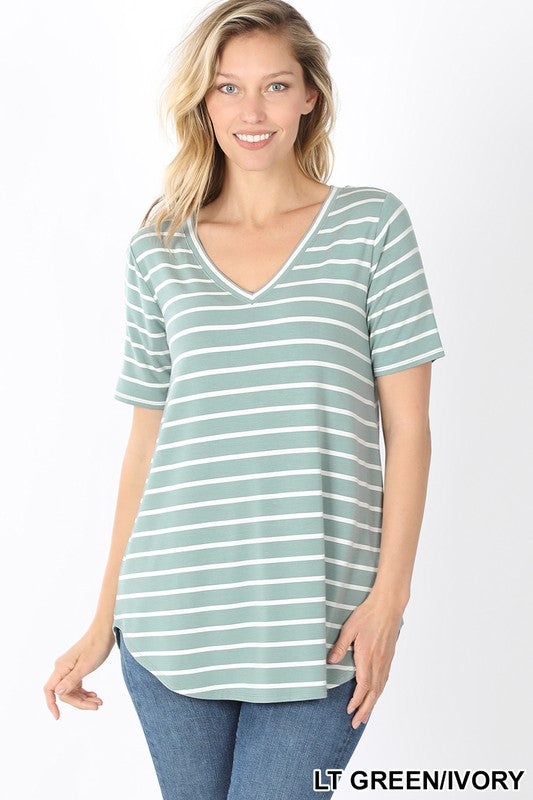 The Perfect Striped Tee - Sage