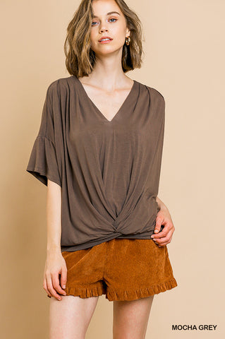 Addie Twist Front Top - Mocha
