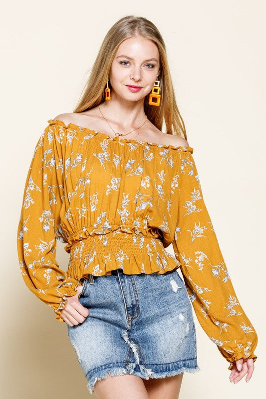 Eden Floral Off The Shoulder Top - Mustard