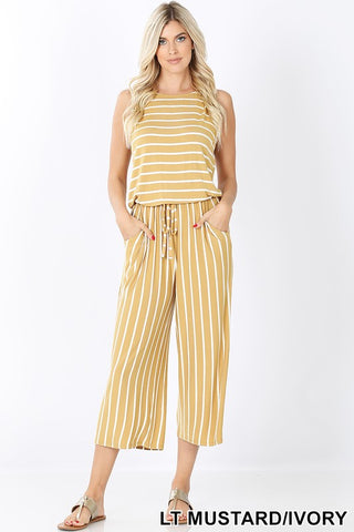 Summer Love Striped Jumpsuit - Mustard