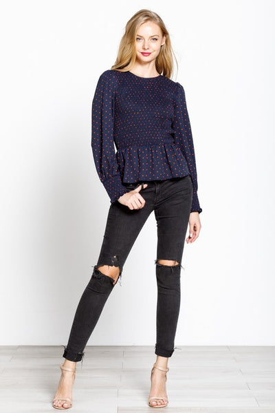 Polka Dot Frenzy Peplum Top - Navy