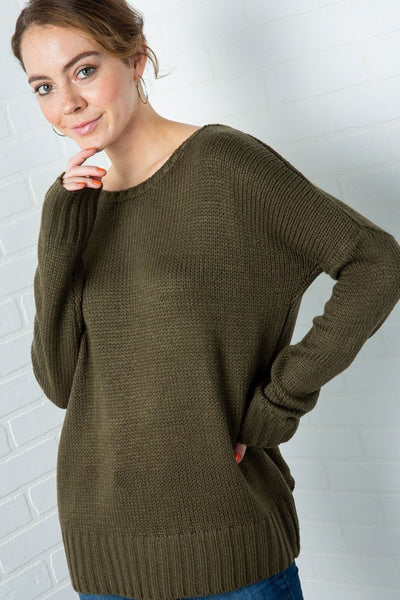 Sofia Open-Back Sweater - Olive