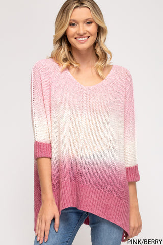 Rylee Ombre Sweater - Pink