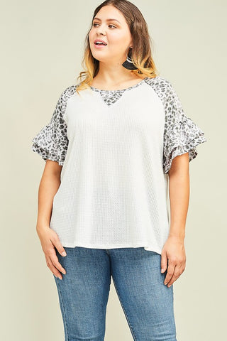Just For Today Top- Grey Leopard