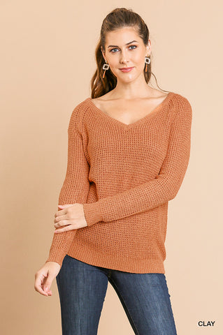 At My Best V-Neck Sweater - Pumpkin