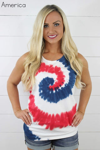 Tie Dye Swirl Tank - Red, White, Blue