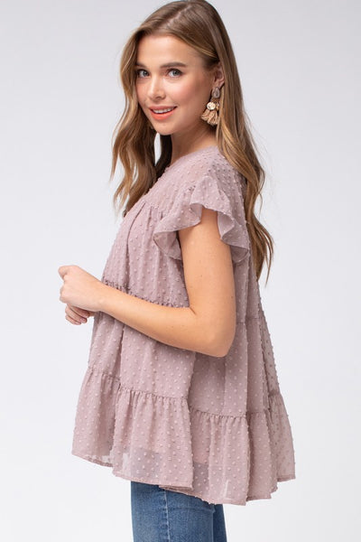 Always Wandering Ruffle Top - Mauve