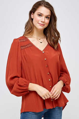 Set The Tone Dotted Blouse - Rust