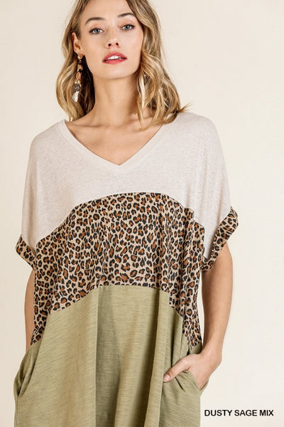 Keep It Cool Leopard Colorblock Dress