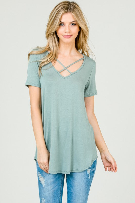 Oh So Swept Away Top - Sage Green