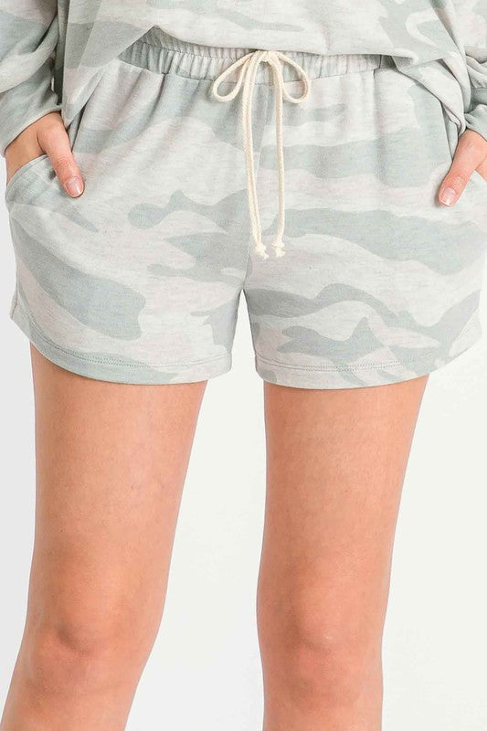 Down To Chill Shorts - Sage Camo