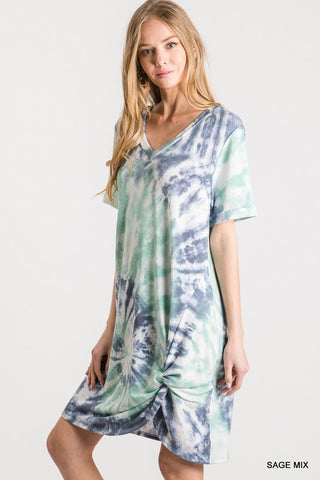 Be Blissful Tie Dye Dress - Sage
