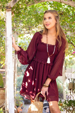 Eyes On You Swiss Dot Dress - Burgundy