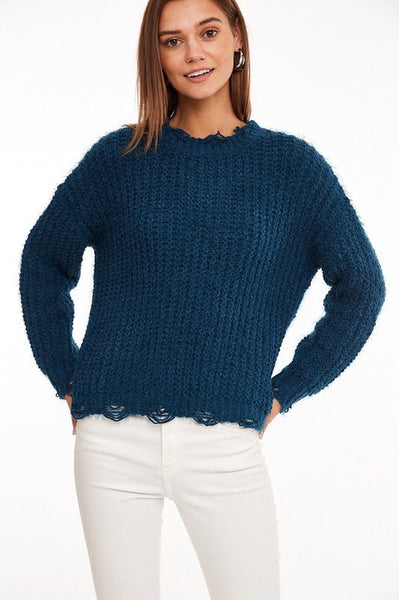 Chic Outlook Distressed Sweater - Teal