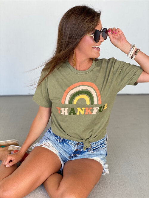 Thankful Rainbow Tee - Olive Green