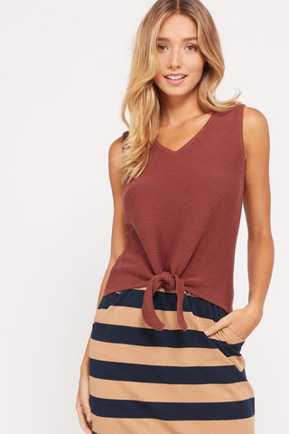 Best of Me Tie Front Tank - Marsala