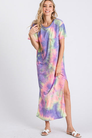 Season of Sunshine Tie Dye Maxi Dress - Purple