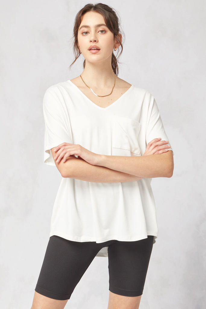 Natalie V-Neck Top - White