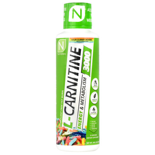 Nutrakey L-Carnitine 3000 Sour Gummy Worms - Gluten Free