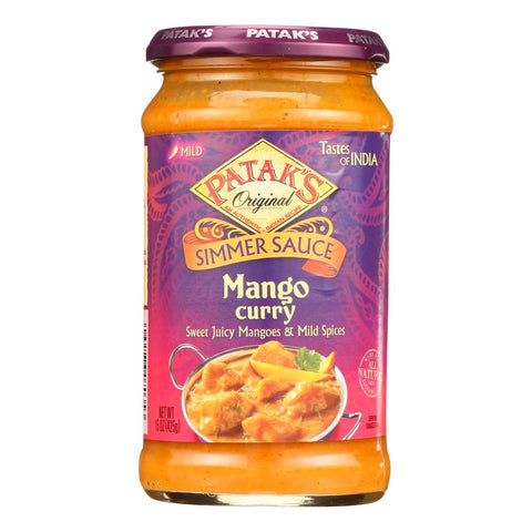 Pataks Simmer Sauce - Mango Curry - Mild - 15 Oz - Case Of 6