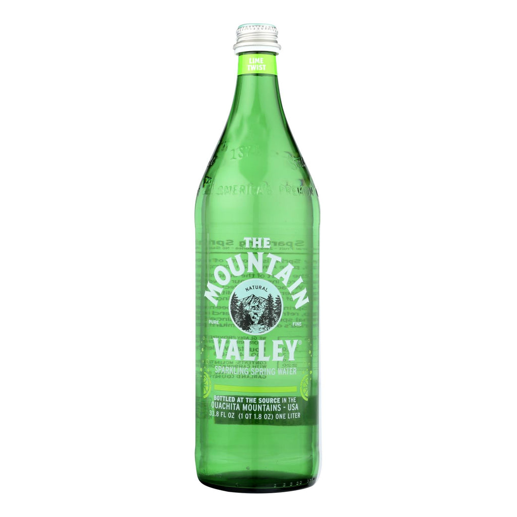 The Mountain Valley Lime Twist Sparkling Spring Water  - Case Of 12 - 1 Ltr