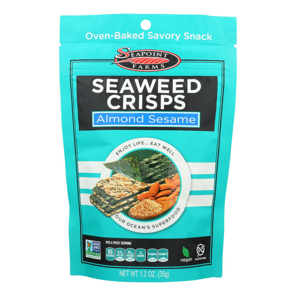 Seapoint Farms Seaweed Crisps - Almond Sesame - Case Of 12 - 1.2 Oz.