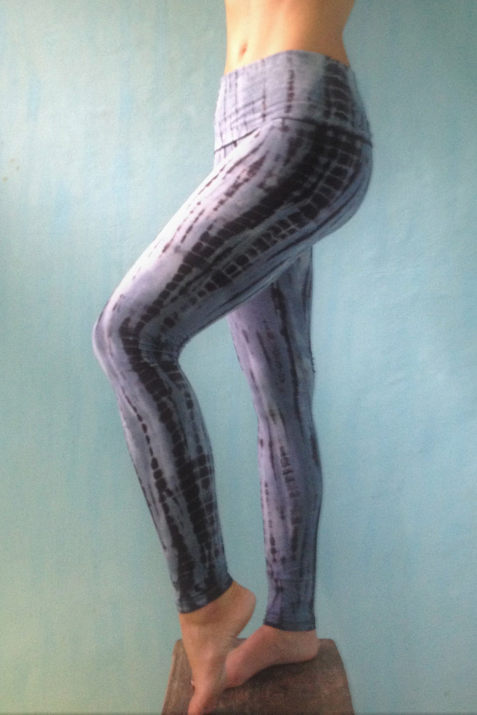 1652255831 ... Long yoga pants tie dyed steel blue with black. Fold over top for adjustable  fit ...