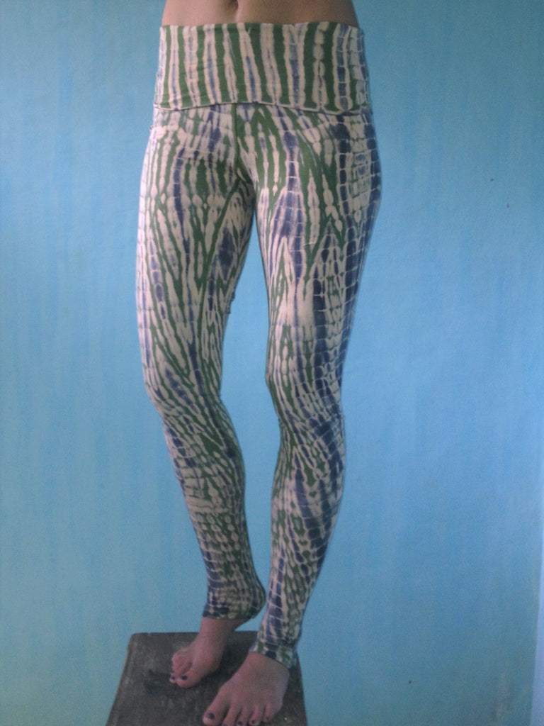 0f0b8c8574 ... Long yoga pants tie dyed peach with green and grey. Fold over top for  adjustable ...