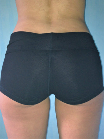 Solid black, soft yoga shorts with fold over waist, can be worn higher waisted, or low on the hips. Classic staple for your wardrobe. 90% cotton 20% spandex.