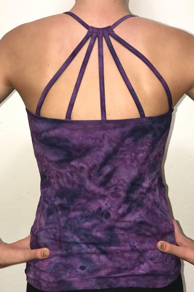Back view Purple Haze Tie Dye Shanti Tank Top by Lotus Tribe Clothing with built in bra and stunning back strap design. Cute enough for everyday wear, but functional enough for yoga class or the gym. Super soft, high quality, 90% cotton knit with 10% spandex for just enough stretch.