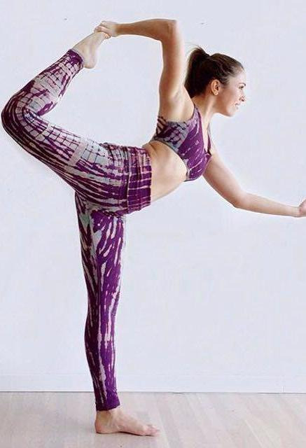 Amethyst Tie Dye, purple with lavender highlights long length yoga pant with fold over waist for customized fit. Purple with lavender highlights.  Shown with matching Sports bra.