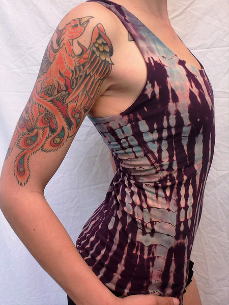 Amethyst Tie Dye Tank Top with built in bra. Fits everyone, comfortably, from flat chested to large breasted. Purple with lavender highlights full support with 4 criss cross straps on back.