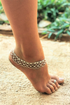 "Silver color metal anklet with LACE pattern.   27cm or 10.5"" in length. Will fit up to 10"" ankle.   Beautiful compliment to any outfit. Looks great at wedding, or at the beach, perfect for festival season too."