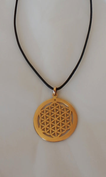 "Brass Flower of Life Sacred Geometry pendent 3.5 cm (almost 1.5"") in diameter, comes on black waxed cotton cord (vegan friendly)."