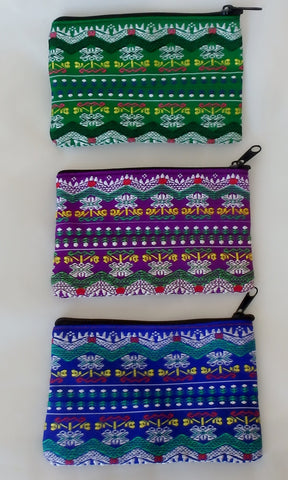 "Ethnic coin purse. Handmade by little old lady from a hill tribe in Northern Thailand.  Approx. 3""x4.5"" fits ATM and credit cards, drivers licenses, etc perfectly.  Fully lined with zipper closure.  Available in Green, Purple and Blue"
