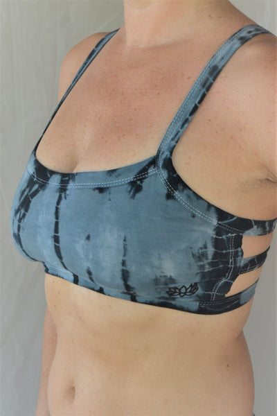 Steele blue with black tie dye sportsbra with three horizontal straps across the back. So comfortable with lighter support. Super soft 90% cotton 10% spandex