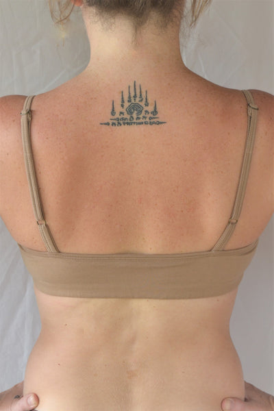 Enjoy a perfect state of zen in our basic, minimalist sportsbra. Solid beige. Medium support, great for an active lifestyle with adjustable spaghetti straps.