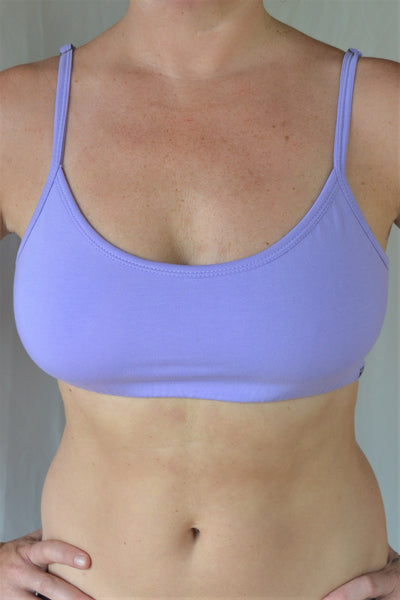 Enjoy a perfect state of zen in our basic, minimalist sportsbra. Solid lavender. Medium support, great for an active lifestyle with adjustable spaghetti straps.