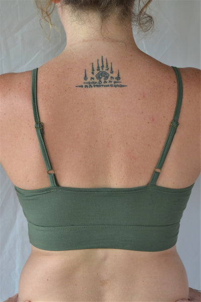 You'll be blissed out in this flattering Sage green bra with adjustable spaghetti straps and scrunched center puckering, it will soon become your new favorite!