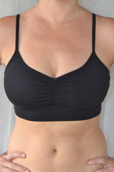You'll be blissed out in this flattering Onyx (black) bra with adjustable spaghetti straps and scrunched center puckering it will soon become your new favorite!