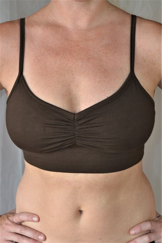You'll be blissed out in this flattering Chocolate (brown) bra with adjustable spaghetti straps and scrunched center puckering it will soon become your new favorite!