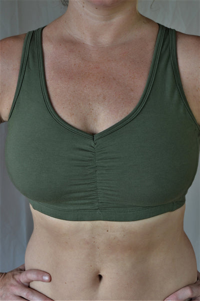"Sage green SportsBra with ""sunburst"" design straps on back. Fits large chested active women especially while still being soft, cute, comfortable and functional."