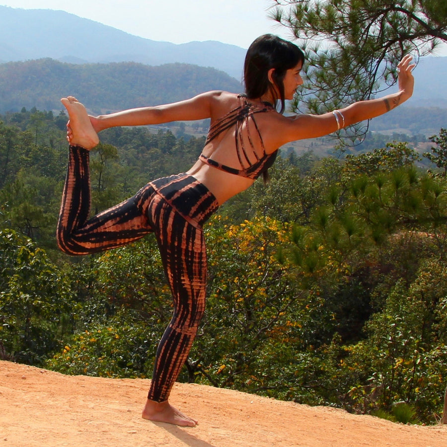 Two piece yoga outfit by Lotus Tribe Clothing made of stretchy cotton with 10% spandex.