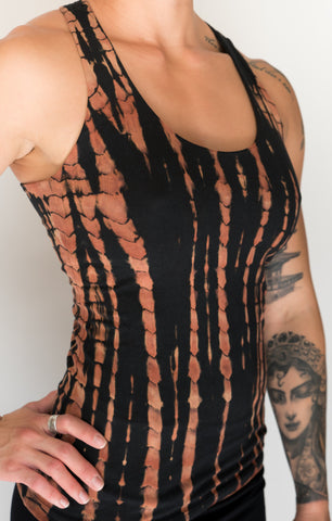 Fire Tie Dye Tank Top with built in bra. Black with burnt orange highlights. Fits everyone, comfortably, from flat chested to large breasted. Purple with lavender highlights full support with 4 criss cross straps on back.