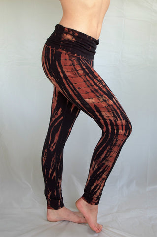 Fire tie dye, black with burnt orange highlights long length yoga pants with fold over top for adjustable fit can be worn with higher waist or lower on the hips. Soft, comfortable 90% cotton 10% spandex.