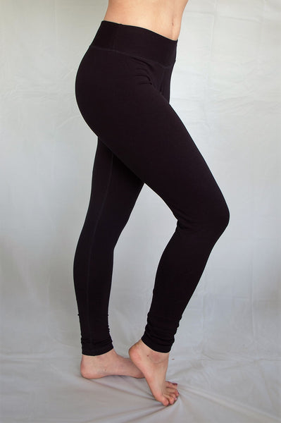 Extra long length black yoga pants perfect for your tall friends, with flat waist. Great for yoga or layering under skirts or other clothing. High quality 90% cotton 10% spandex