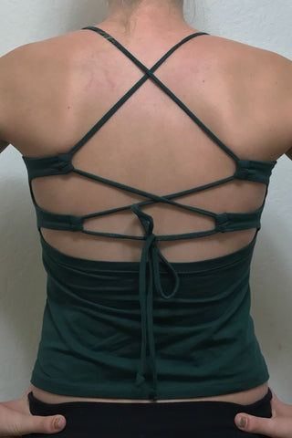Back view of Forest green tank top with lace up back straps by Lotus Tribe Clothing