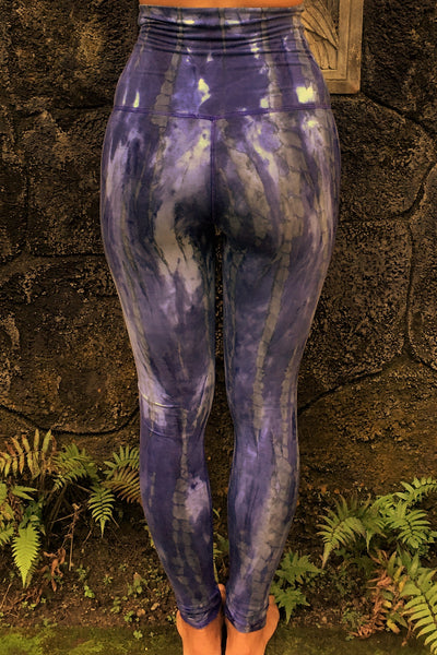 Super comfortable, flattering high quality 90% Organic Cotton with 10% spandex knit into soft stretchy long length yoga pants with fold over top for adjustable fit. Gorgeous cool purple hues with grey and possibly white highlights.  Hand tied and dyed so each one is a unique work of wearable eco friendly art.