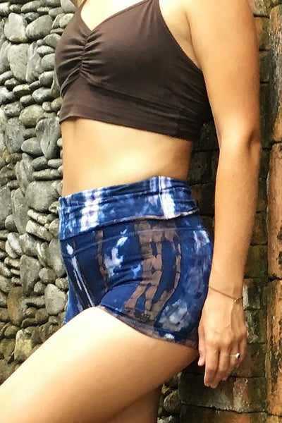 Organic Yoga Shorts in Indigo Earth Tie Dye
