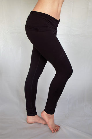 Black long length with fold over waist for comfort and adjustable fit.  High quality 90% cotton 10% spandex yoga pants available in S,M,L